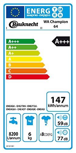 Bauknecht WA Champion 64 Waschmaschine FL / A+++ / 147 kWh/Jahr / 1400 UpM / 6 kg / 8200 L/Jahr / Startzeitvorwahl /Unterbaufähig / weiß - 2