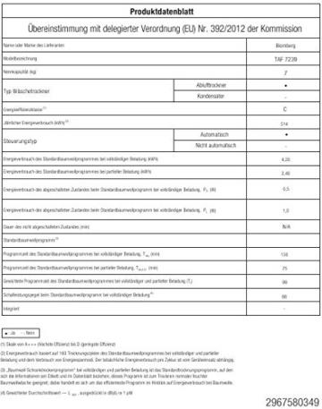 Blomberg TAF 7239 Ablufttrockner
